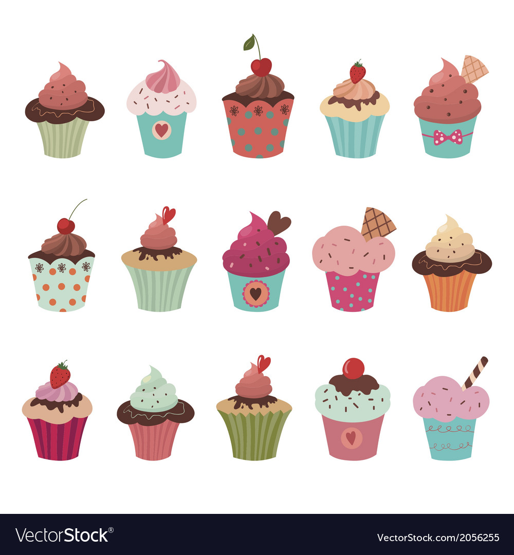 Delicious yummy cupcakes set vector | Price: 1 Credit (USD $1)