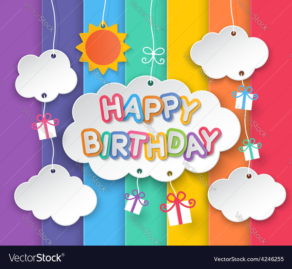 Happy birthday clouds and rainbow sky background vector | Price: 1 Credit (USD $1)