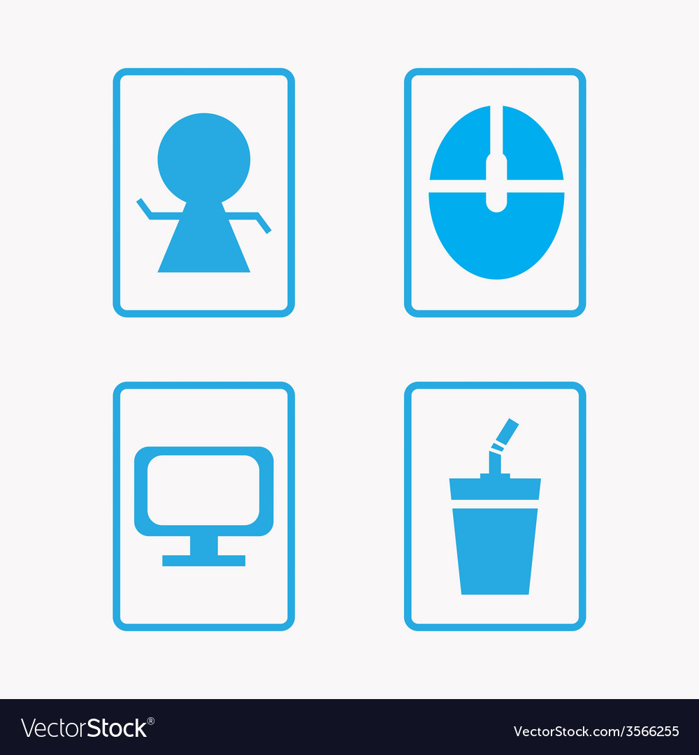 Icon set computer with coffee vector | Price: 1 Credit (USD $1)
