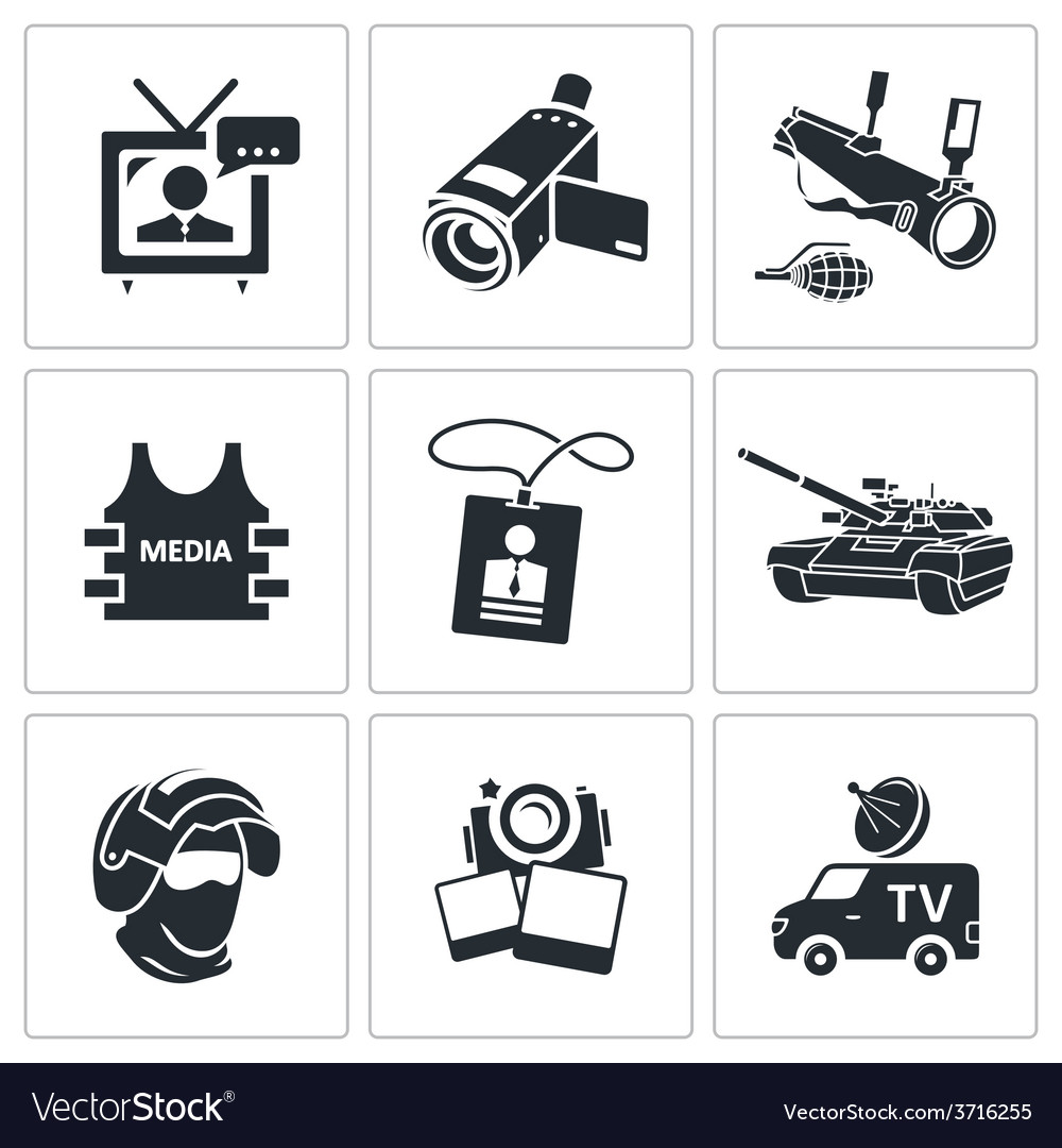 Media broadcasting from a war zone icons set vector | Price: 1 Credit (USD $1)