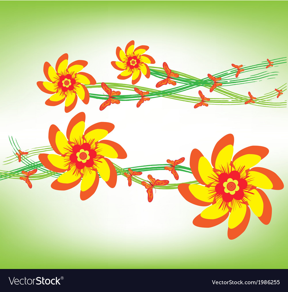 Orange flowers and happy butterflies vector | Price: 1 Credit (USD $1)