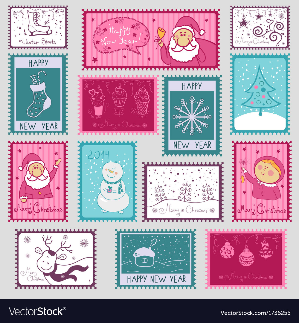 Postal stamps with christmas vector   Price: 1 Credit (USD $1)