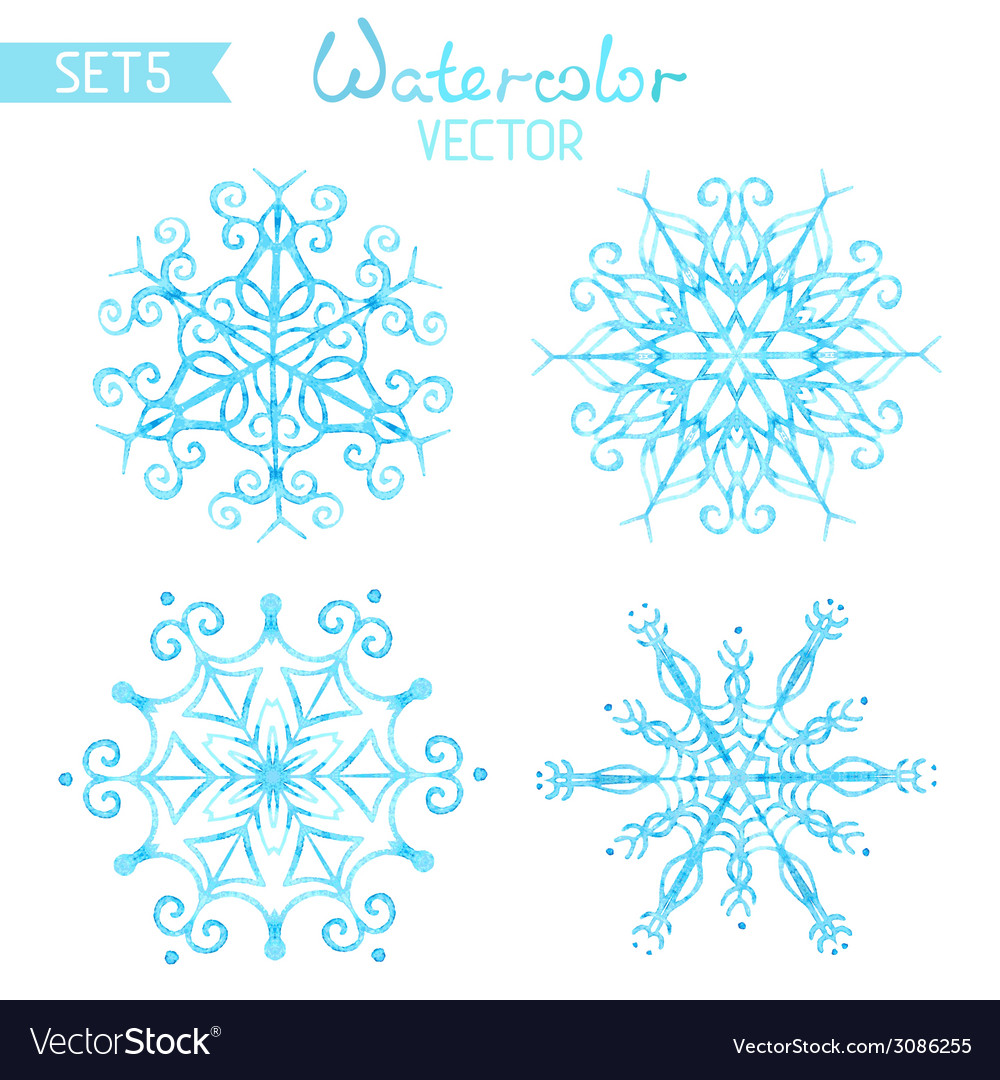 Set of watercolour snowflakes vector | Price: 1 Credit (USD $1)