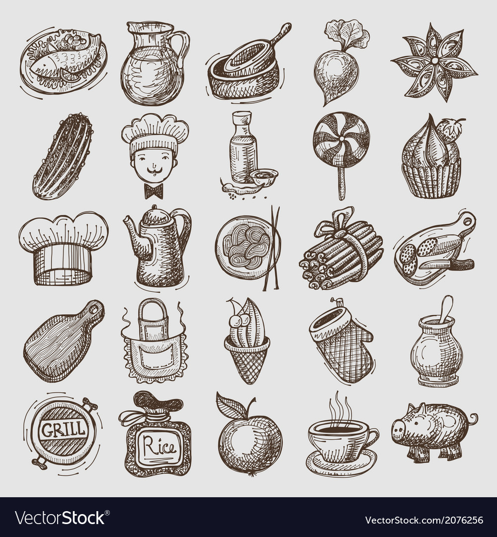 25 sketch doodle icons food vector | Price: 1 Credit (USD $1)