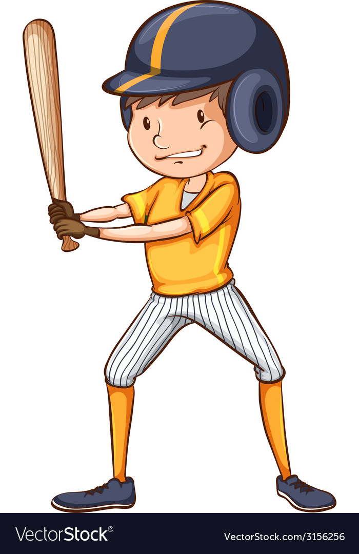 A simple sketch of a male baseball player vector | Price: 1 Credit (USD $1)
