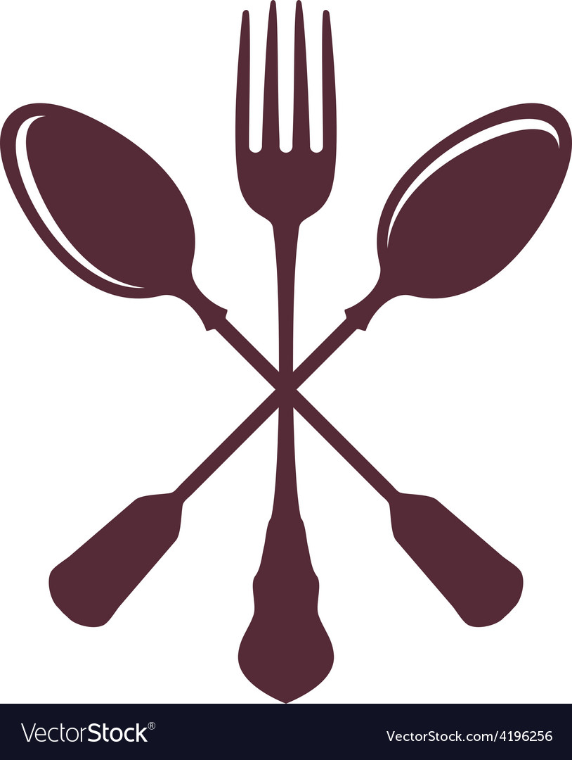 Crossed spoons with fork isolated on white vector | Price: 1 Credit (USD $1)