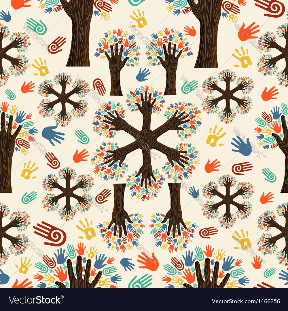 Diversity tree hands pattern vector | Price: 1 Credit (USD $1)