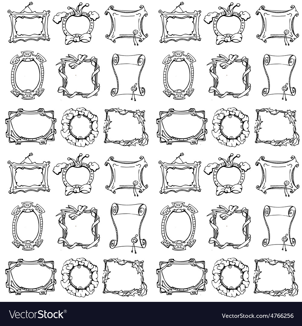 Doodle frames seamless pattern vector | Price: 1 Credit (USD $1)