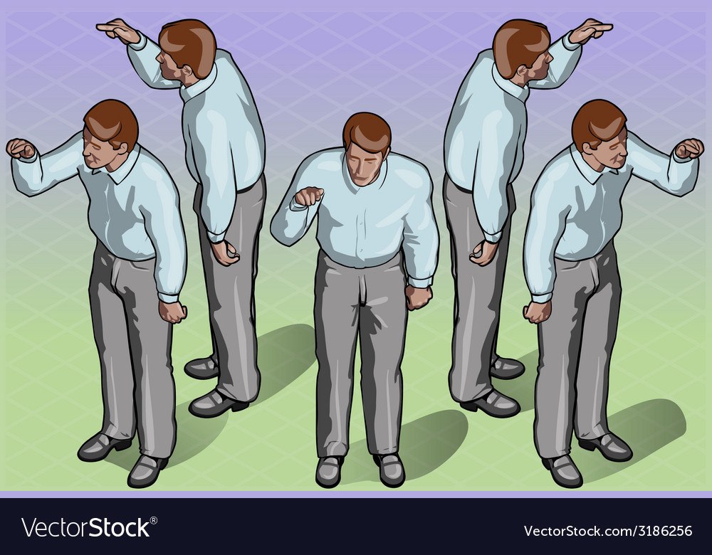 Isometric standing man indicating pose vector   Price: 3 Credit (USD $3)