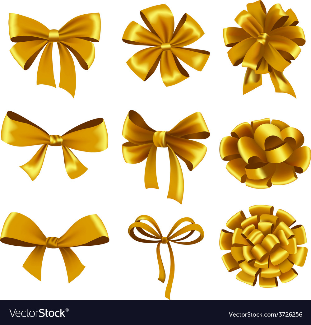 Set of gold gift bows with ribbons vector | Price: 1 Credit (USD $1)