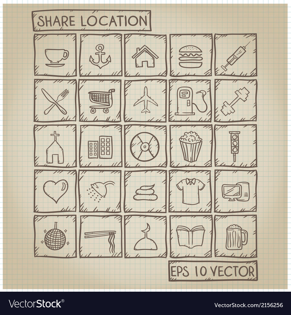 Shared location icon doodle set vector | Price: 1 Credit (USD $1)