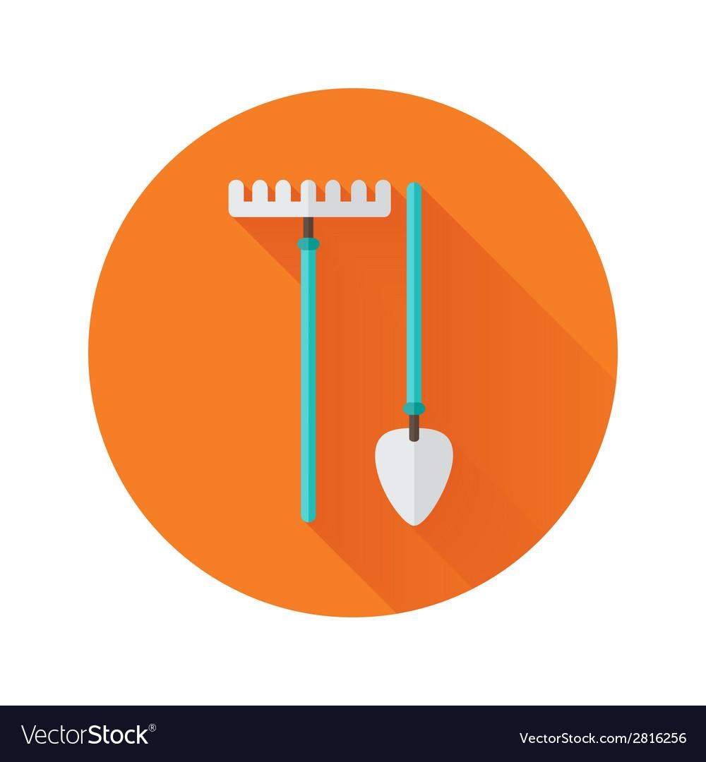 Shovel and rake flat icon vector | Price: 1 Credit (USD $1)