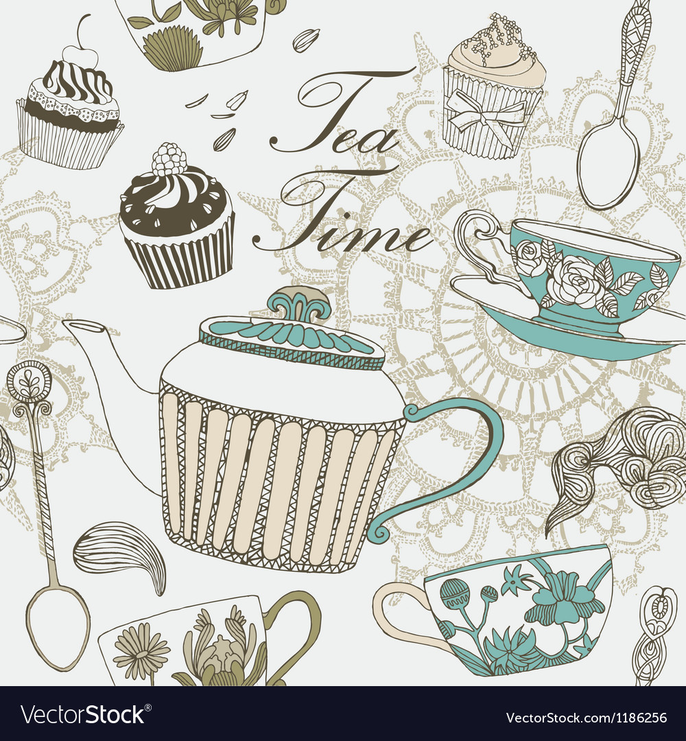 Tea time card vector | Price: 1 Credit (USD $1)
