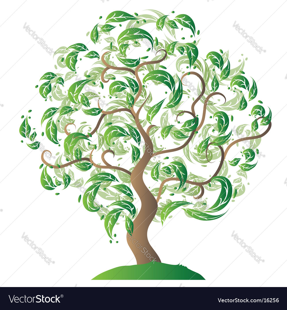 Tree silhouette old grass vector | Price: 1 Credit (USD $1)