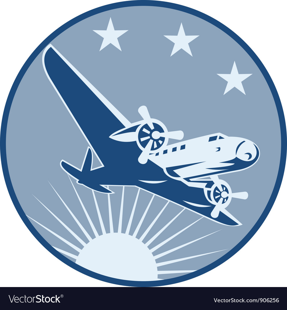 Vintage propeller airplane retro vector | Price: 1 Credit (USD $1)