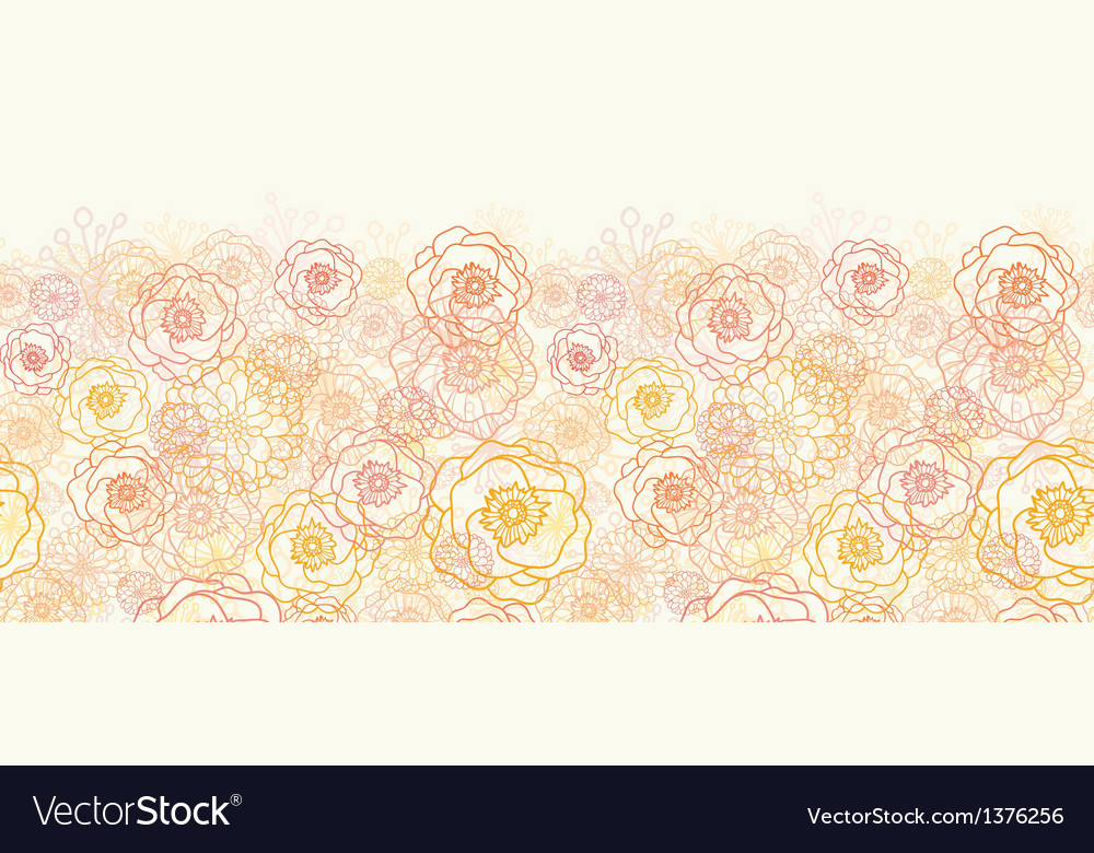 Warm flowers horizontal seamless pattern vector | Price: 1 Credit (USD $1)