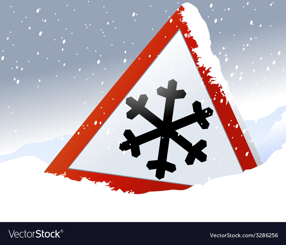 Winter road sign vector | Price: 1 Credit (USD $1)