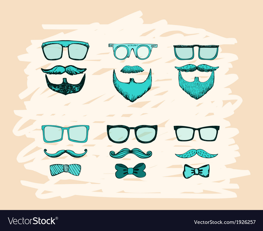 Beards mustaches glasses and bows print vector | Price: 1 Credit (USD $1)
