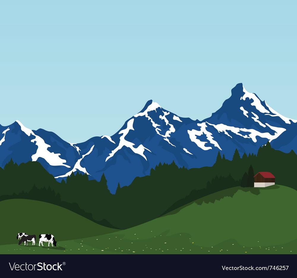 Beautiful mountain landscape vector | Price: 1 Credit (USD $1)