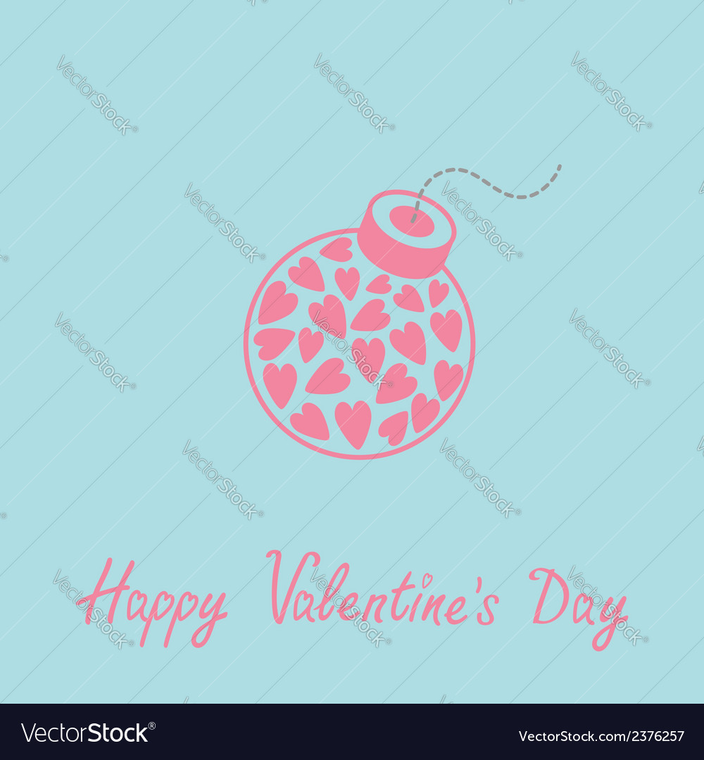 Bomb with hearts happy valentines day blue vector | Price: 1 Credit (USD $1)