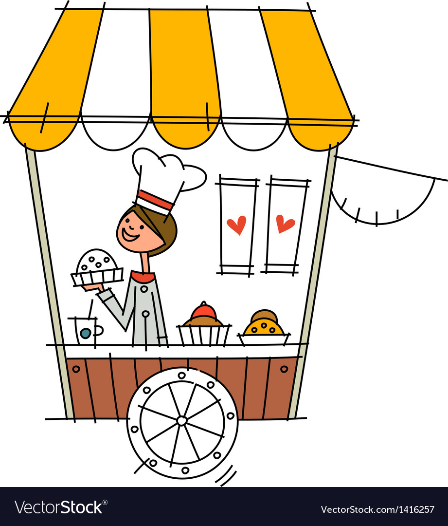 Close-up of boy standing in shop vector | Price: 1 Credit (USD $1)