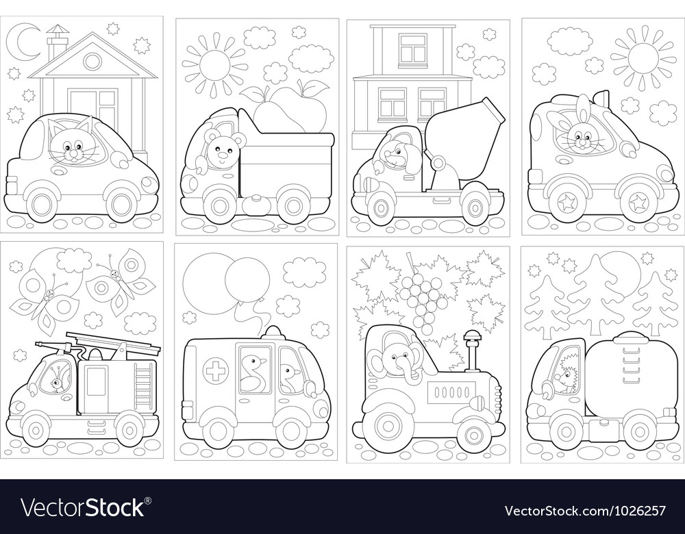 Coloring pages with cars vector | Price: 1 Credit (USD $1)