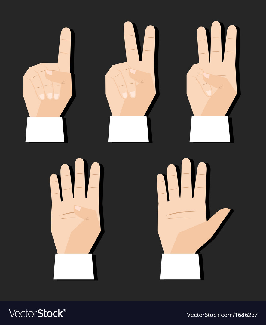 Hand counting signs vector | Price: 1 Credit (USD $1)