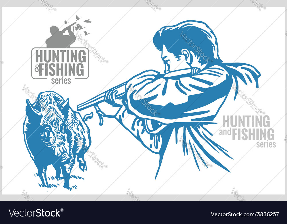 Hunter and boar - vintage vector | Price: 3 Credit (USD $3)