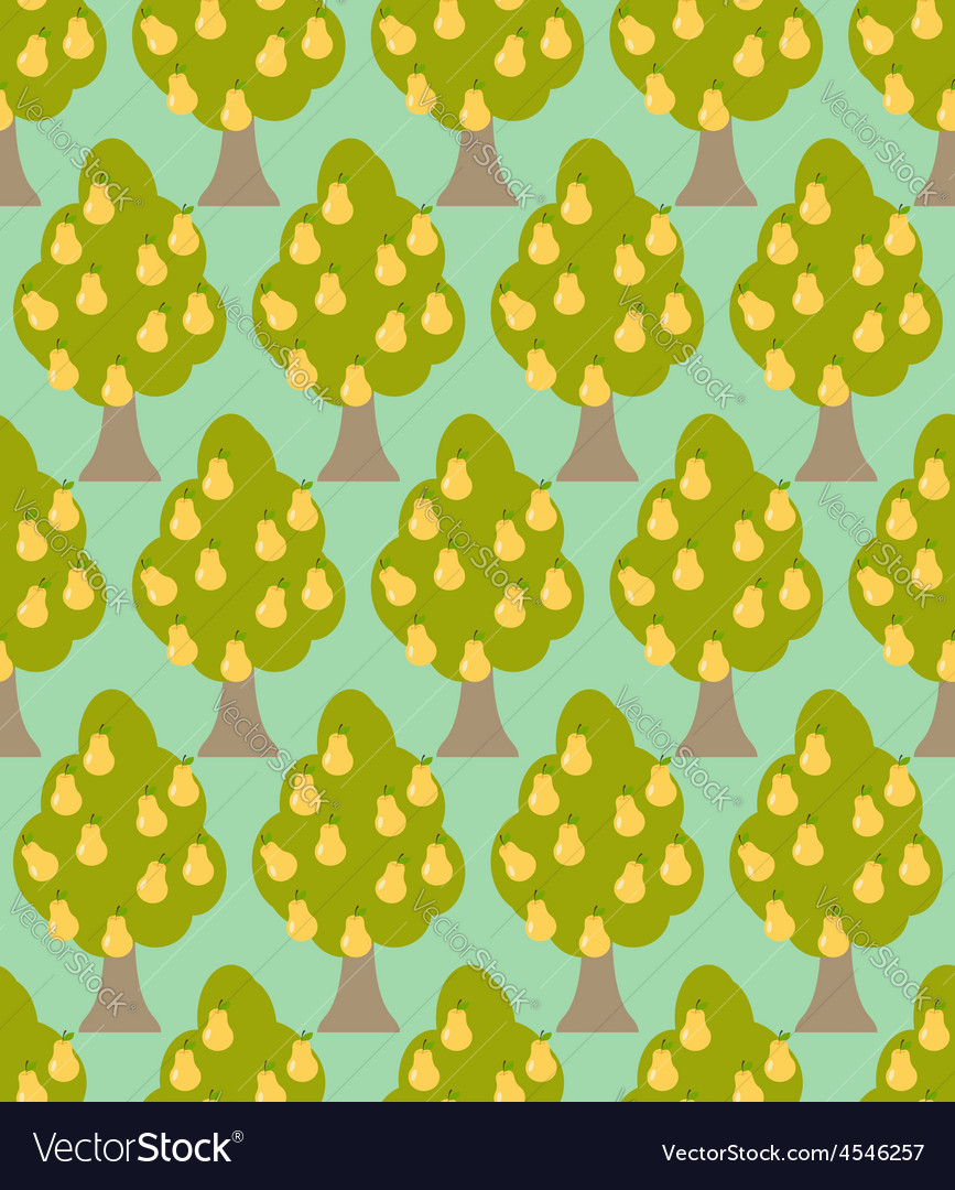 Pear tree seamless pattern orchard background vector | Price: 1 Credit (USD $1)