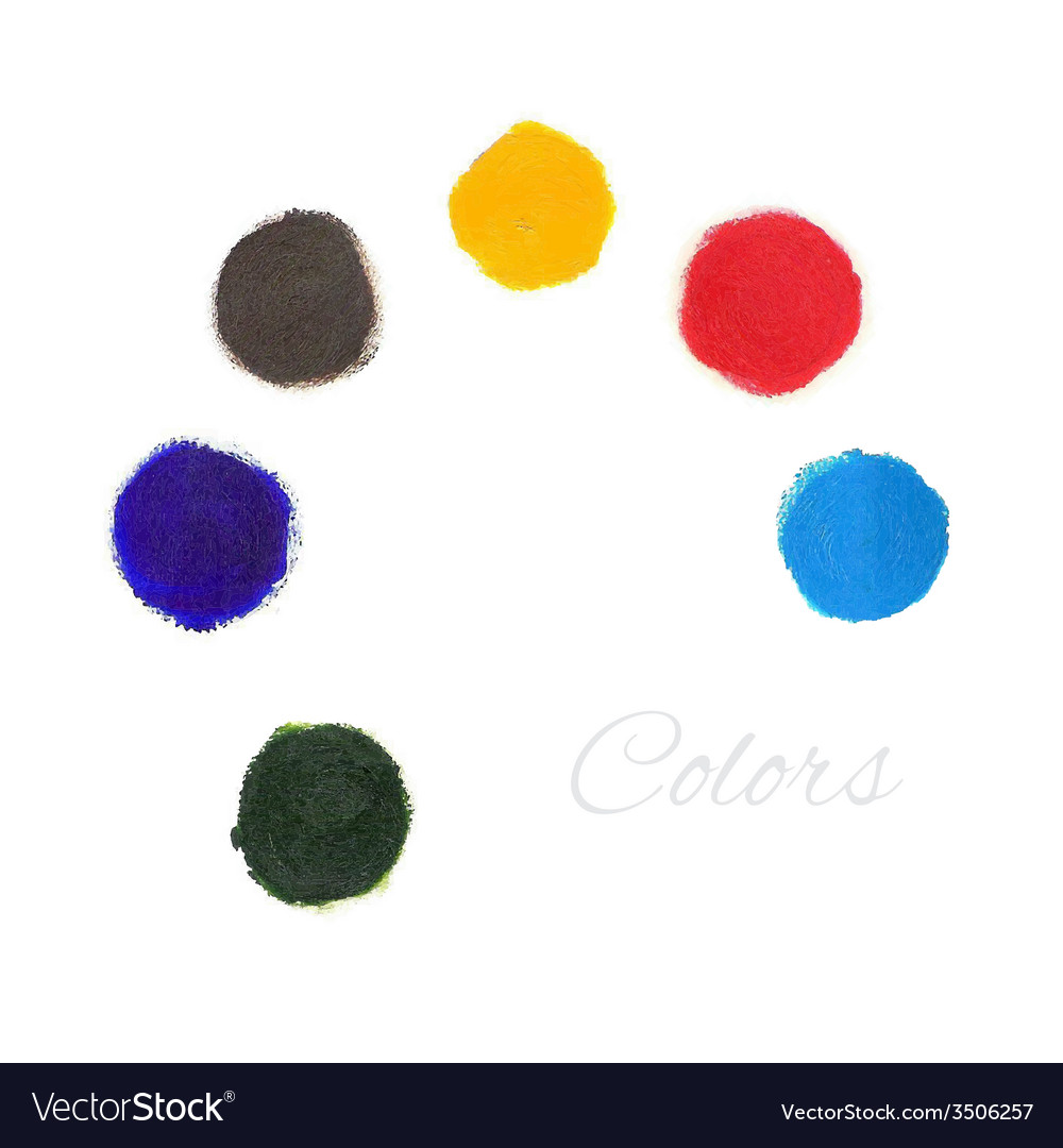 Rainbow colors paint circles set vector | Price: 1 Credit (USD $1)