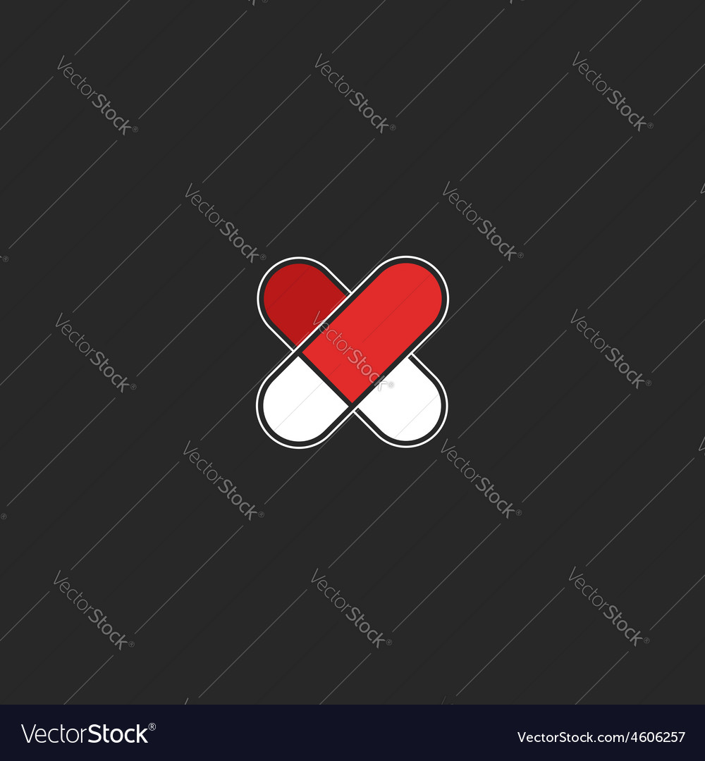 Red heart logo of the two pills mockup graphic vector | Price: 1 Credit (USD $1)