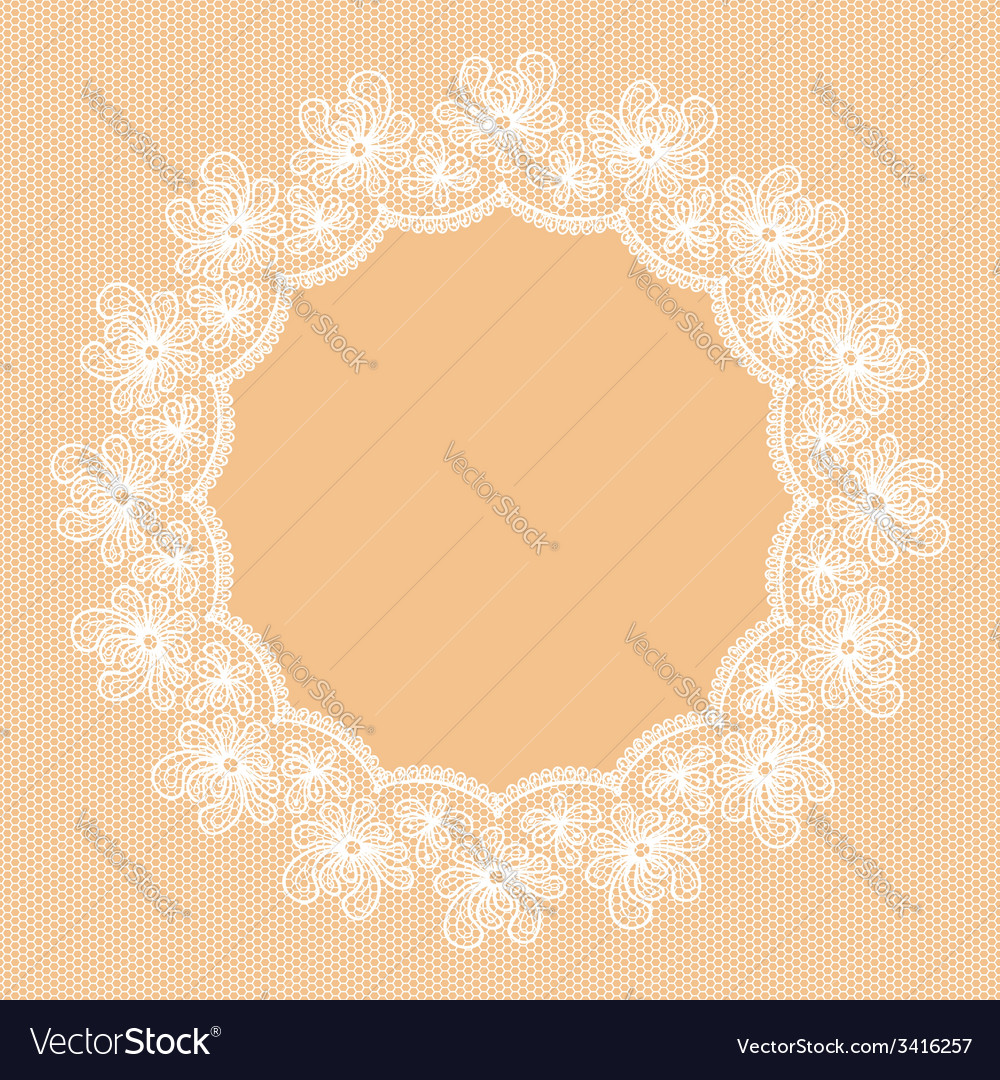 Round white lacy frame vector | Price: 1 Credit (USD $1)