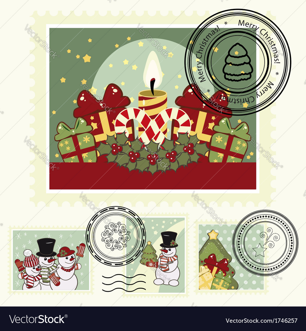 Series of stylized christmas post stamps vector   Price: 1 Credit (USD $1)