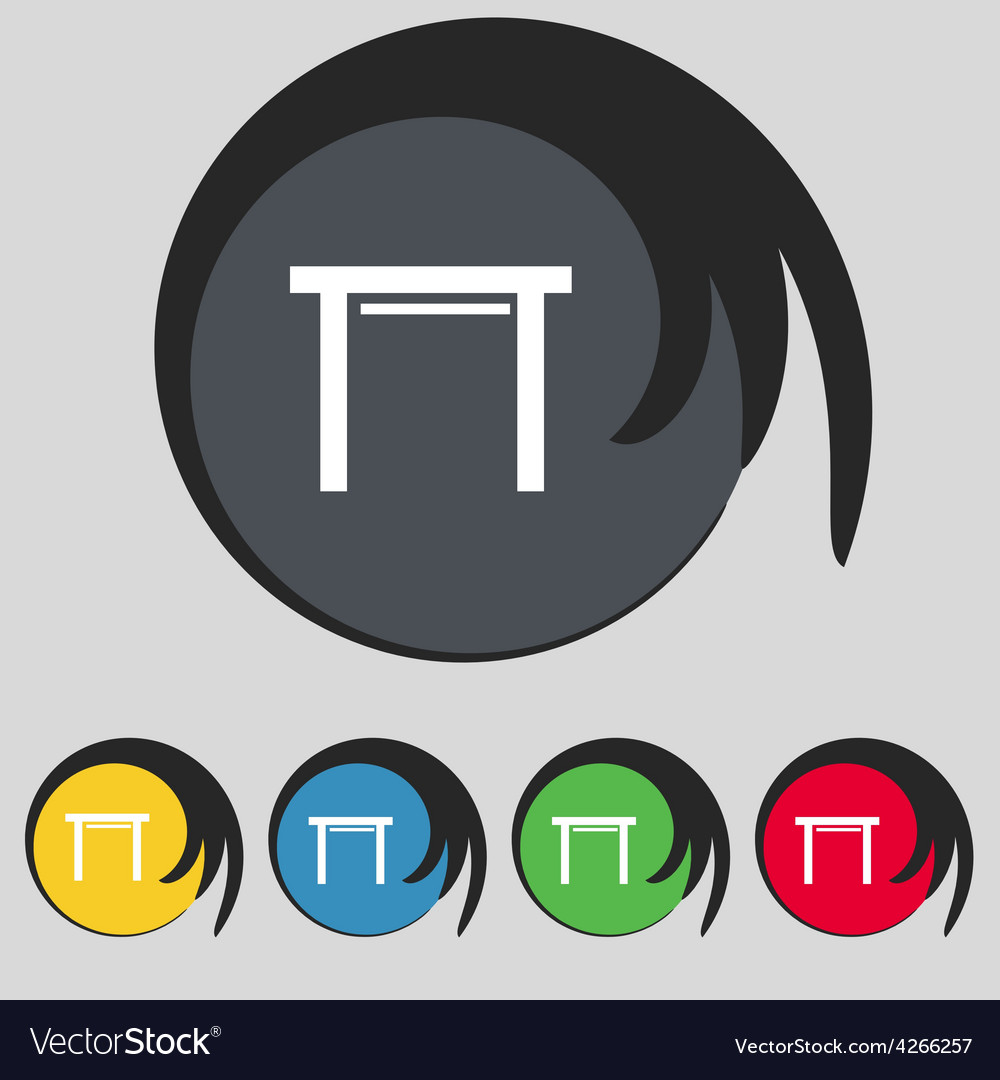 Stool seat icon sign symbol on five colored vector | Price: 1 Credit (USD $1)