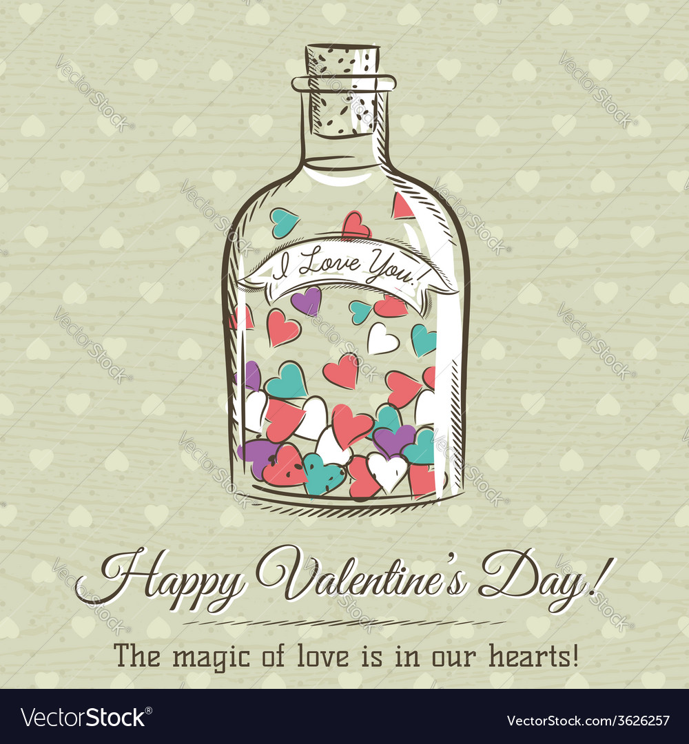 Valentine card with jar filled with hearts vector | Price: 1 Credit (USD $1)