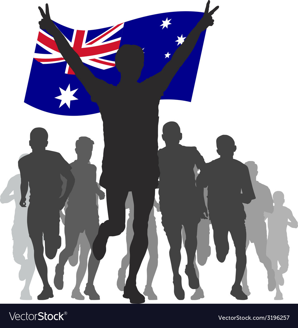 Winner with the australia flag at the finish vector | Price: 1 Credit (USD $1)