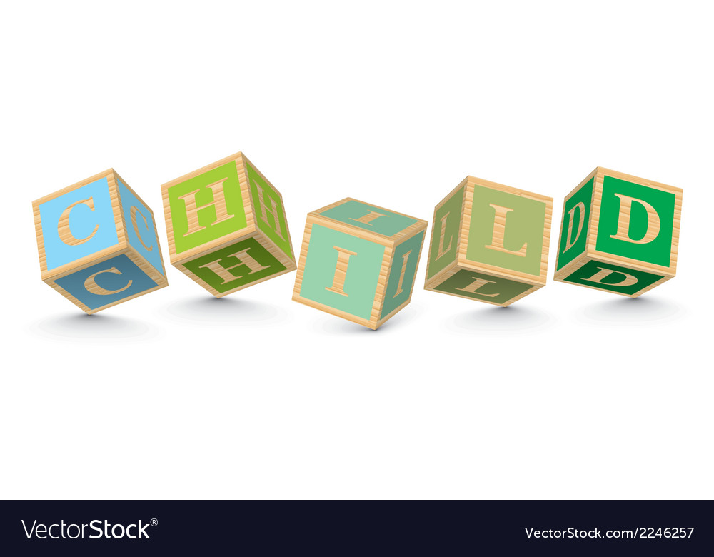 Word child written with alphabet blocks vector | Price: 1 Credit (USD $1)
