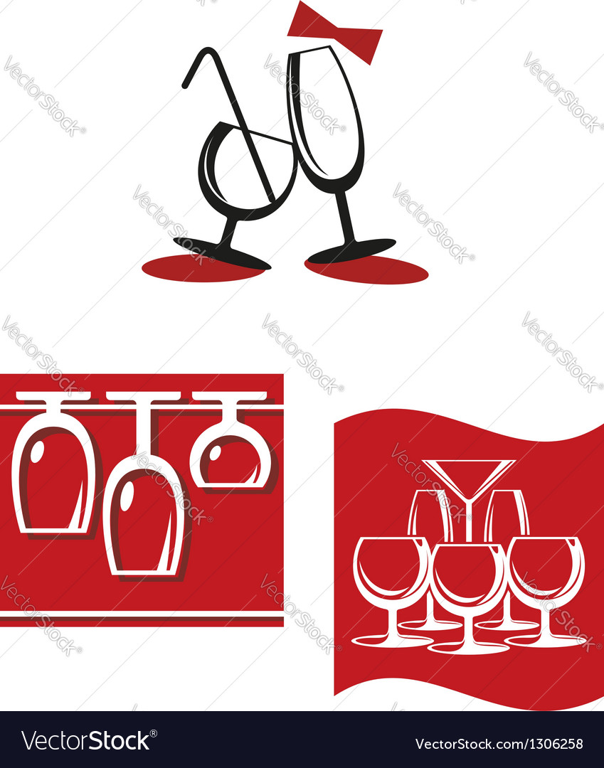 Alcohol glasses for bar menu design vector | Price: 1 Credit (USD $1)