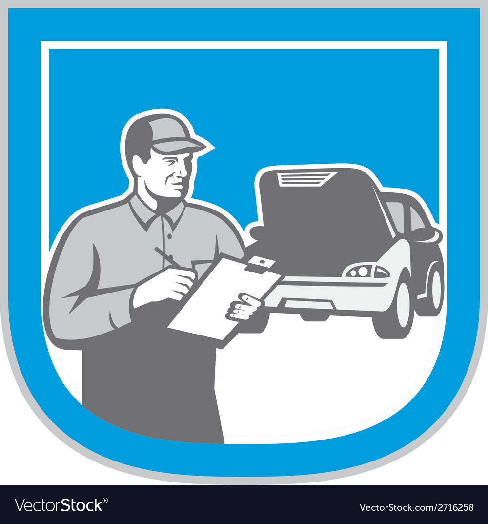 Auto mechanic automobile car repair check retro vector | Price: 1 Credit (USD $1)
