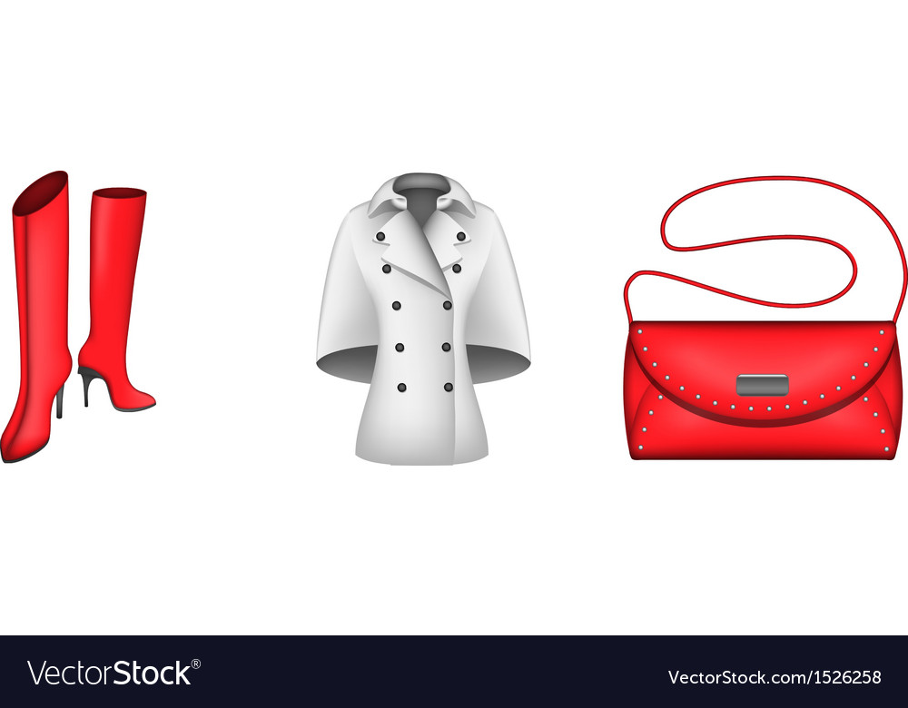 Autumn icons boots coat handbag vector | Price: 1 Credit (USD $1)