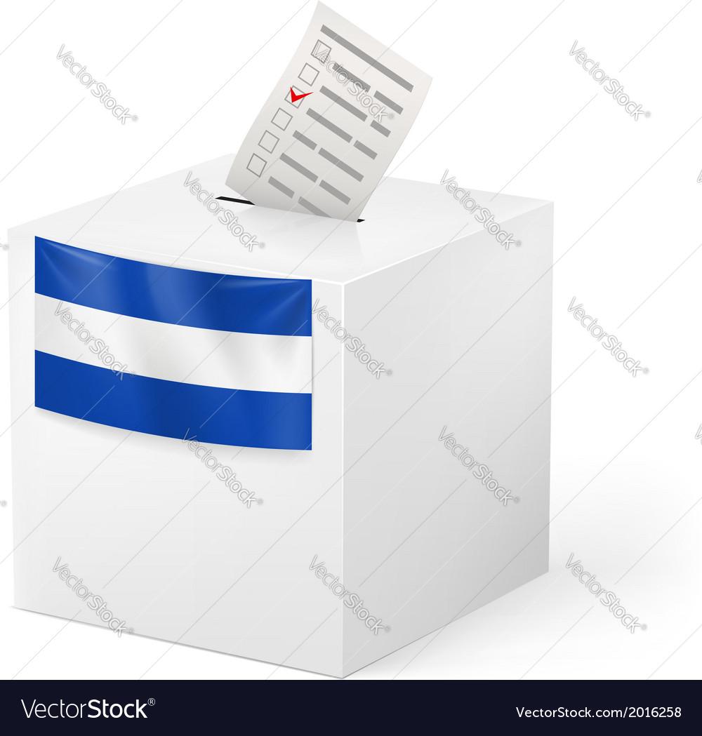 Ballot box with voting paper el salvador vector | Price: 1 Credit (USD $1)