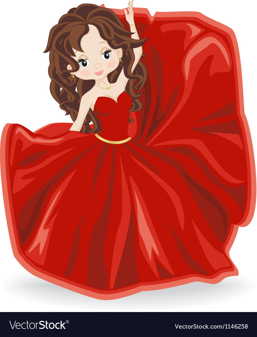 Brunette girl in red evening dress vector | Price: 1 Credit (USD $1)