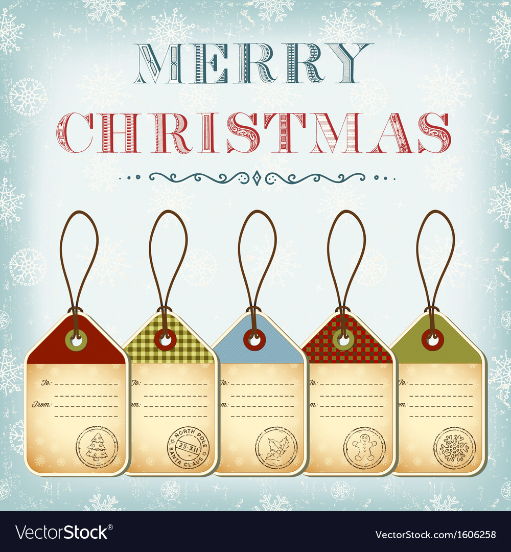 Christmas template of vintage tags with stamps vector | Price: 1 Credit (USD $1)