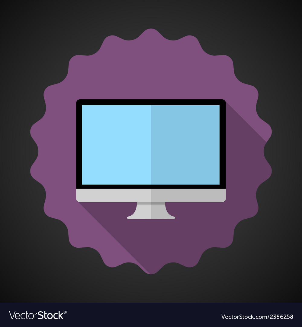 Designer computer desktop flat icon with long vector | Price: 1 Credit (USD $1)