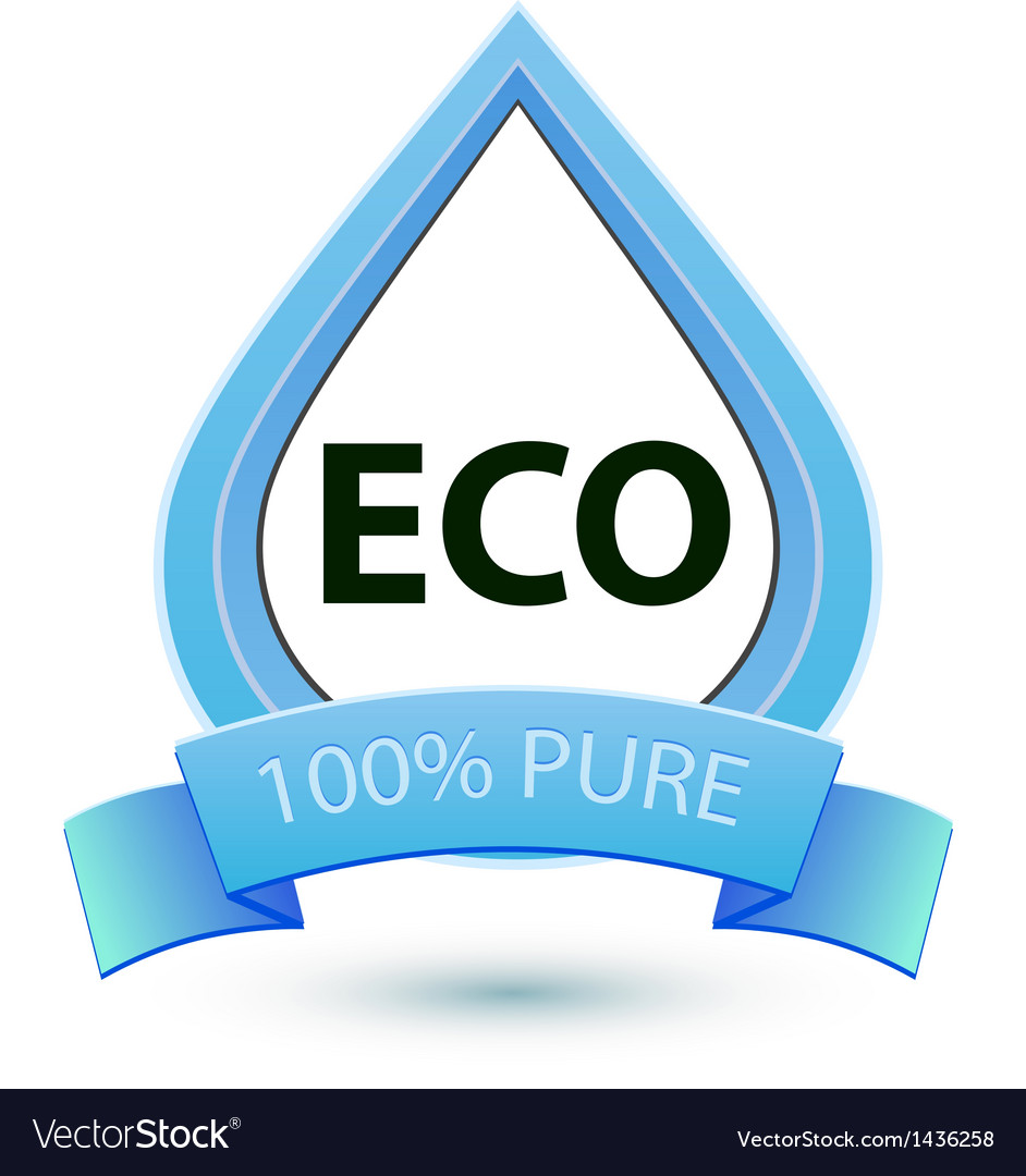 Eco water sign 100 pure water icon template vector | Price: 1 Credit (USD $1)