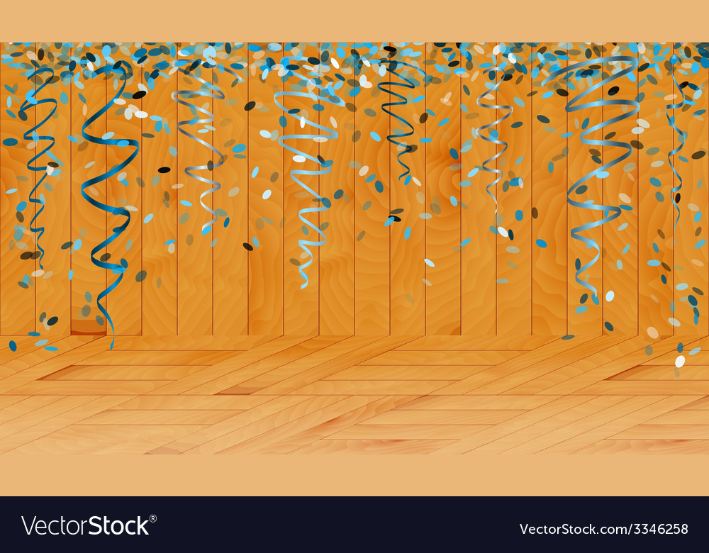 Falling blue confetti in wooden room vector | Price: 1 Credit (USD $1)
