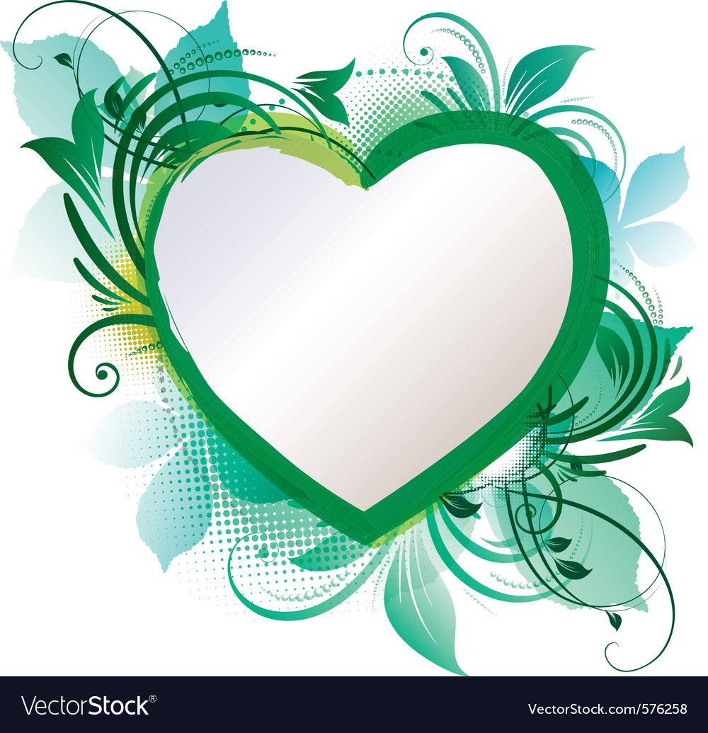Green floral heart background vector | Price: 1 Credit (USD $1)