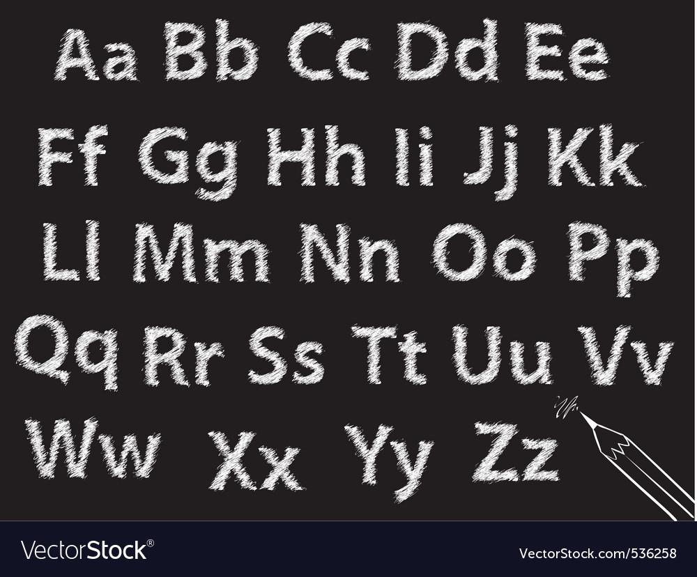 Pencil or charcoal chalk alphabet letter set vector | Price: 1 Credit (USD $1)