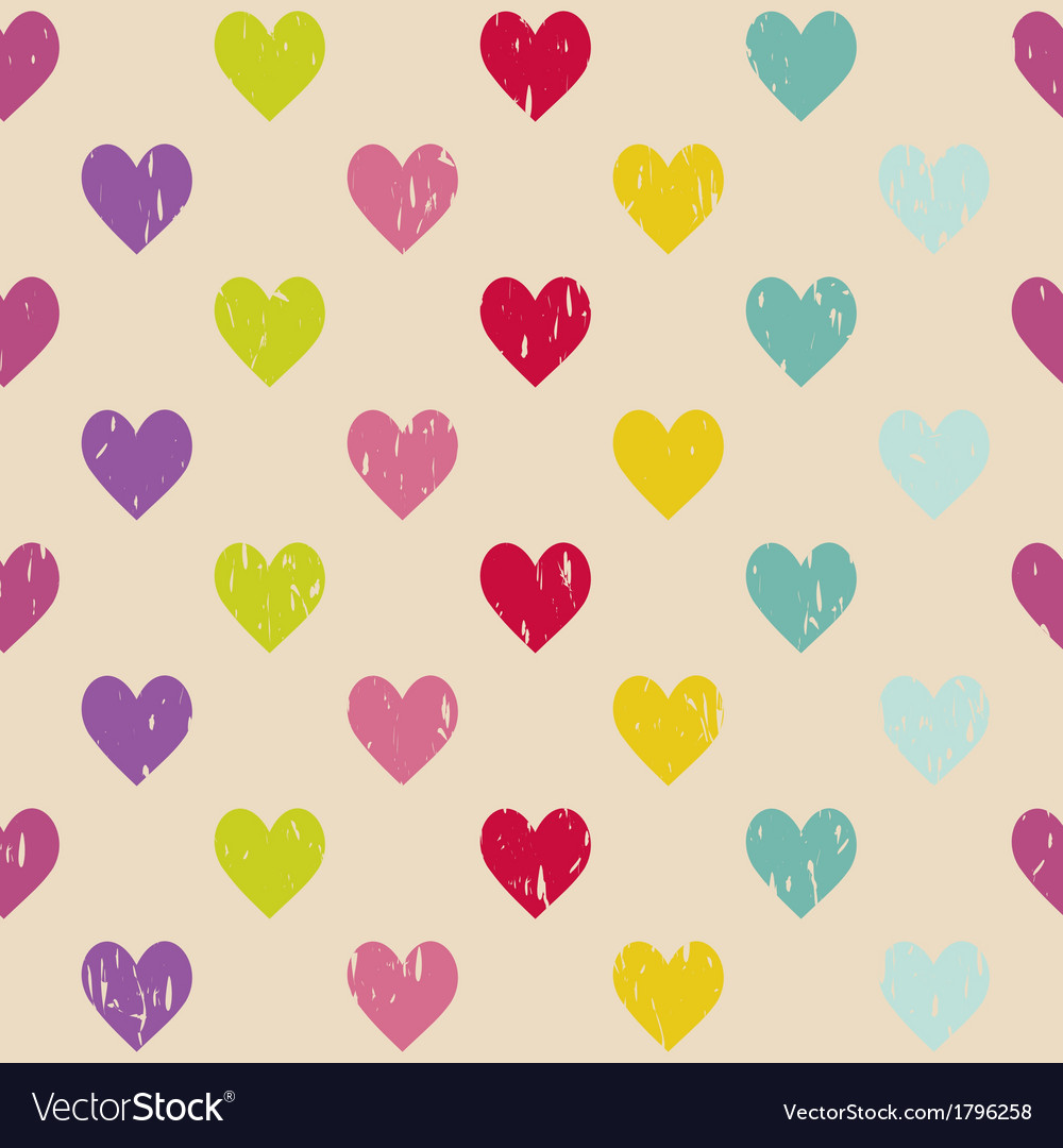Retro seamless pattern with hearts vector   Price: 1 Credit (USD $1)