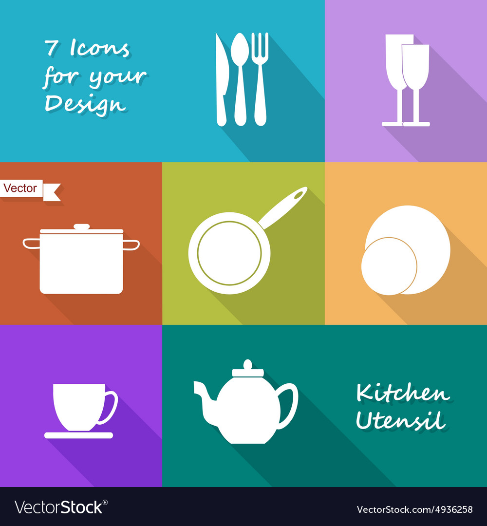 Seven icons of kitchen utensil vector